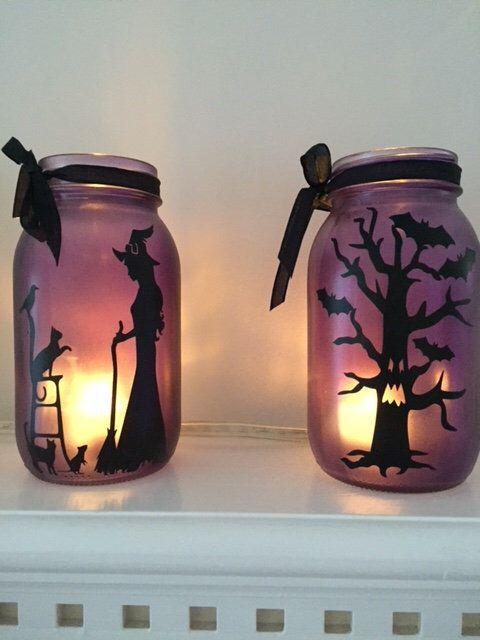 Halloween Decorations orange or purple, Halloween Decor, Mason Jars