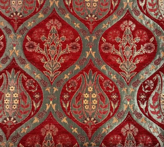 Jacquard Chenille Upholstery Fabric Oriental Style Heavy Fabric