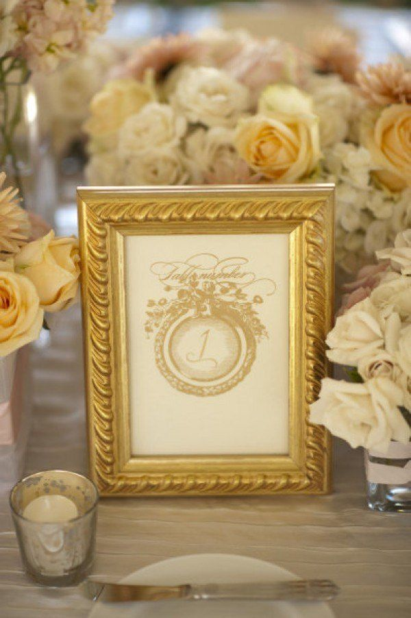 Gold frame table numbers centerpieces silver