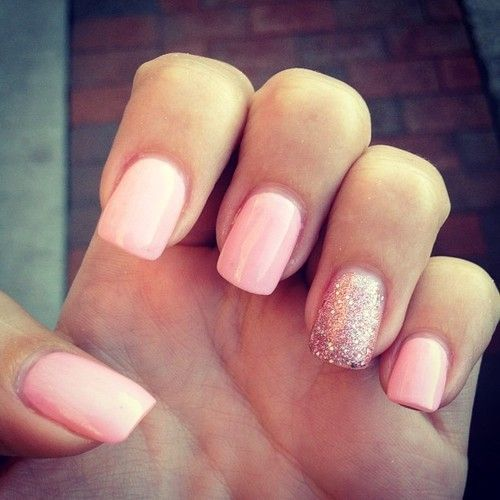 Baby Pink Nails With Glitter On The Ring Finger Baby Pink Nails Pink Glitter Nails One Glitter Nails