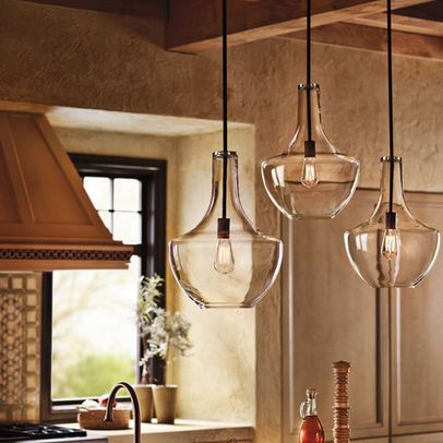 Pendant  lighting - @Aubrey Rodriguez  maybe this would fix my off center kitchen light?