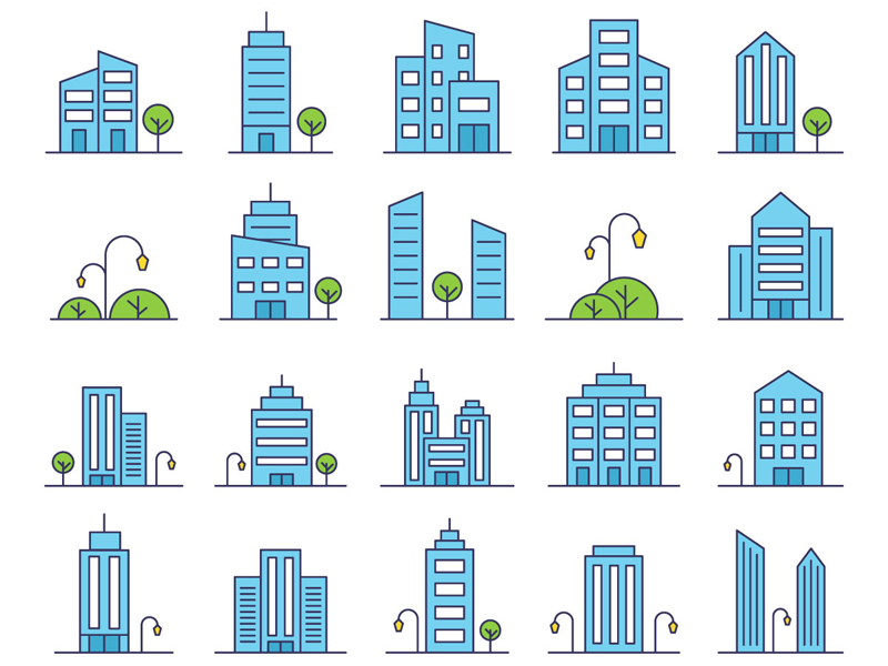 Buildings Vector Freebie Icon Set Building icon, Vector