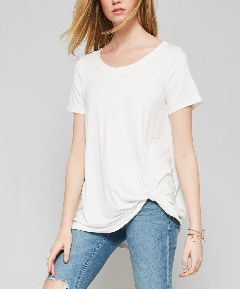 White Knotted Scoop Neck Tunic