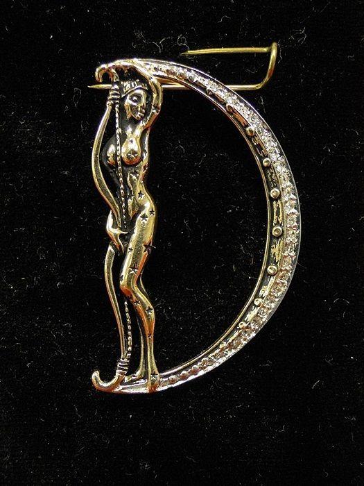 "Erte Designer Alphabet Letter ""D"" 14K Gold Diamond Pin Brooch Broach Signed Lady #CFA"