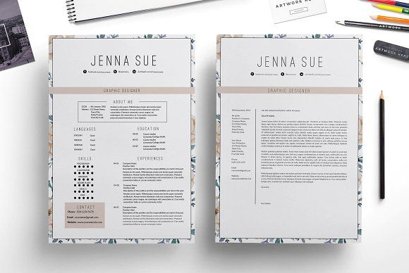 1 Page Resume Format Floral 1 Page Resumechic Templates On Creativemarket  Art