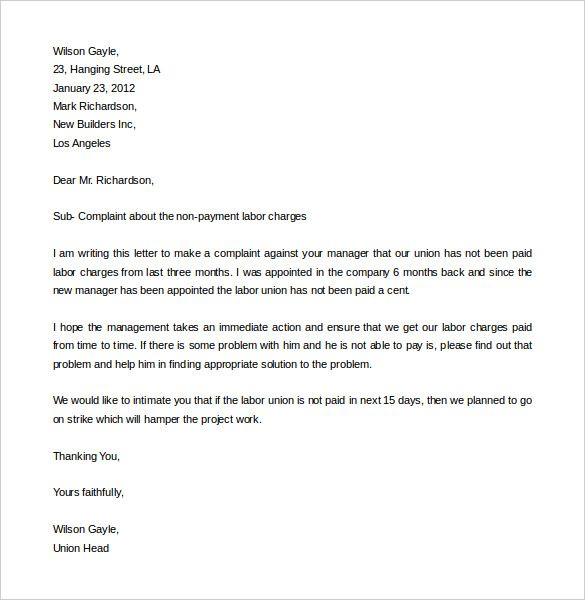 free complaint letter template word pdf documents templates - complaint letter