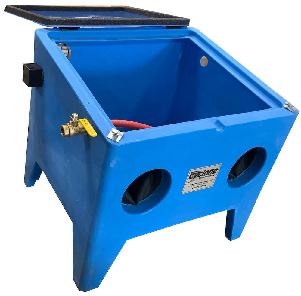 E100 benchtop sandblaster clear acrylic