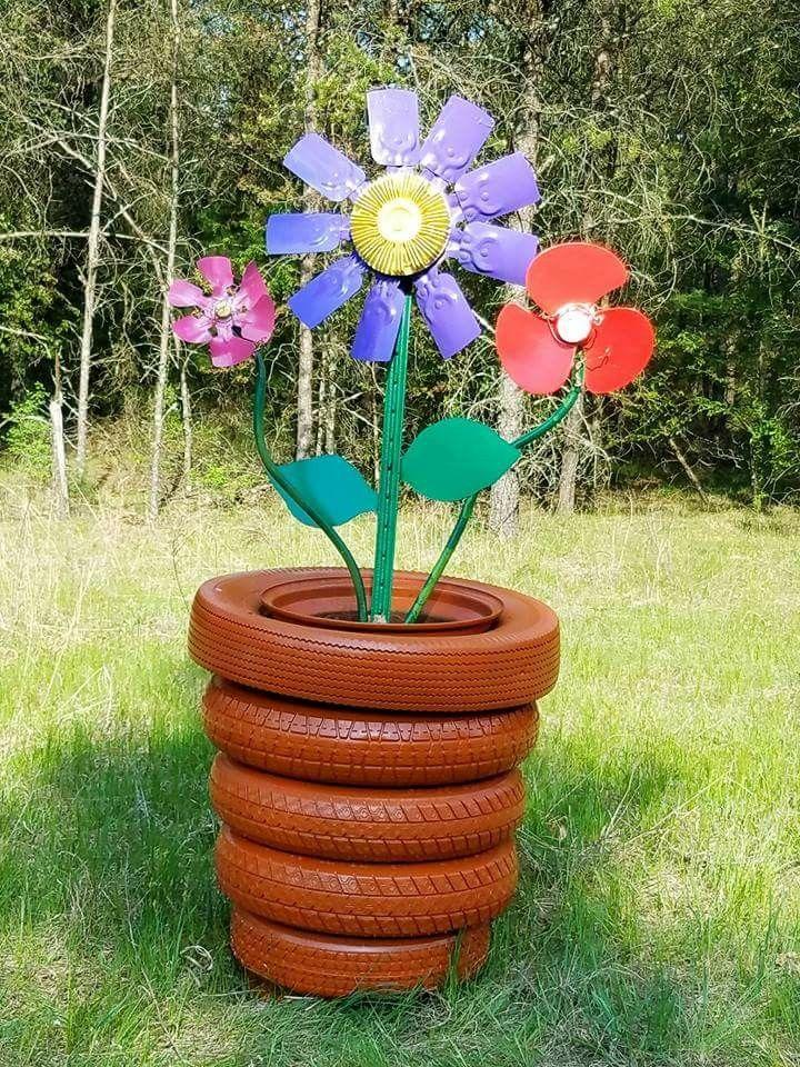 Tire Flower Pot Flower Pots Decorated Flower Pots Tire Art