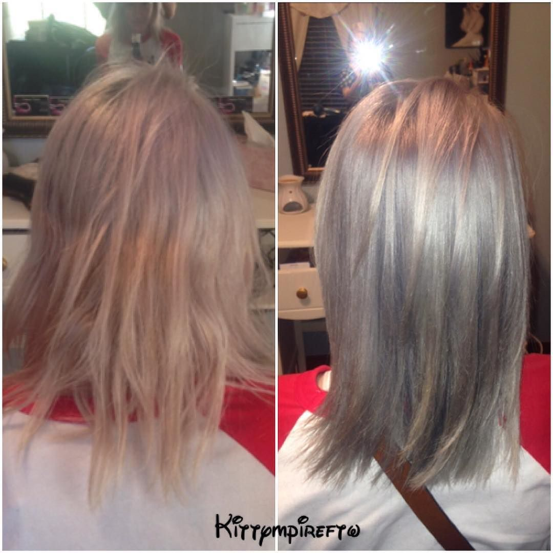Stephanie On Instagram Before And After Root Touch Up With Olaplex And Used The New Ion Demi Permanent Color In Chr Demi Permanent Permanent Hair Color Hair