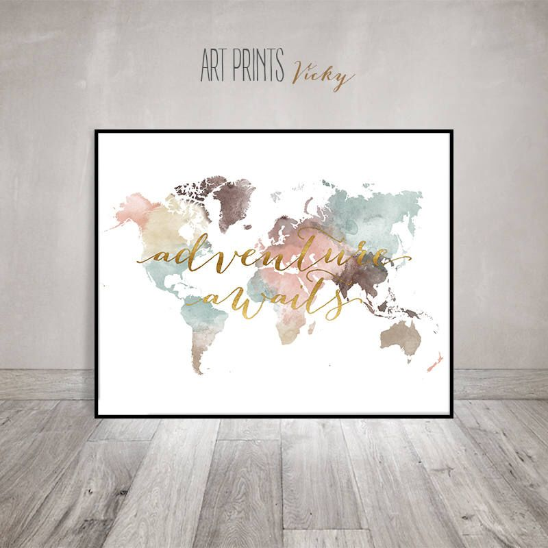 Adventure awaits print world map poster large world map world adventure awaits print world map poster large world map world map wall art gumiabroncs Images