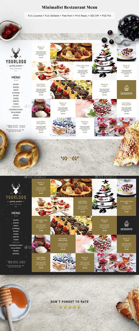 Minimalist Restaurant Menu Restaurant Flyers плакат