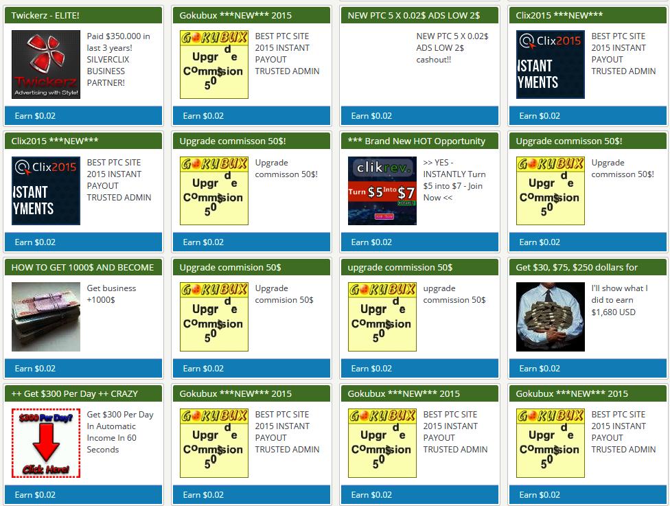 Example of PTC ads by fake PTC websites | Munca domiciliu