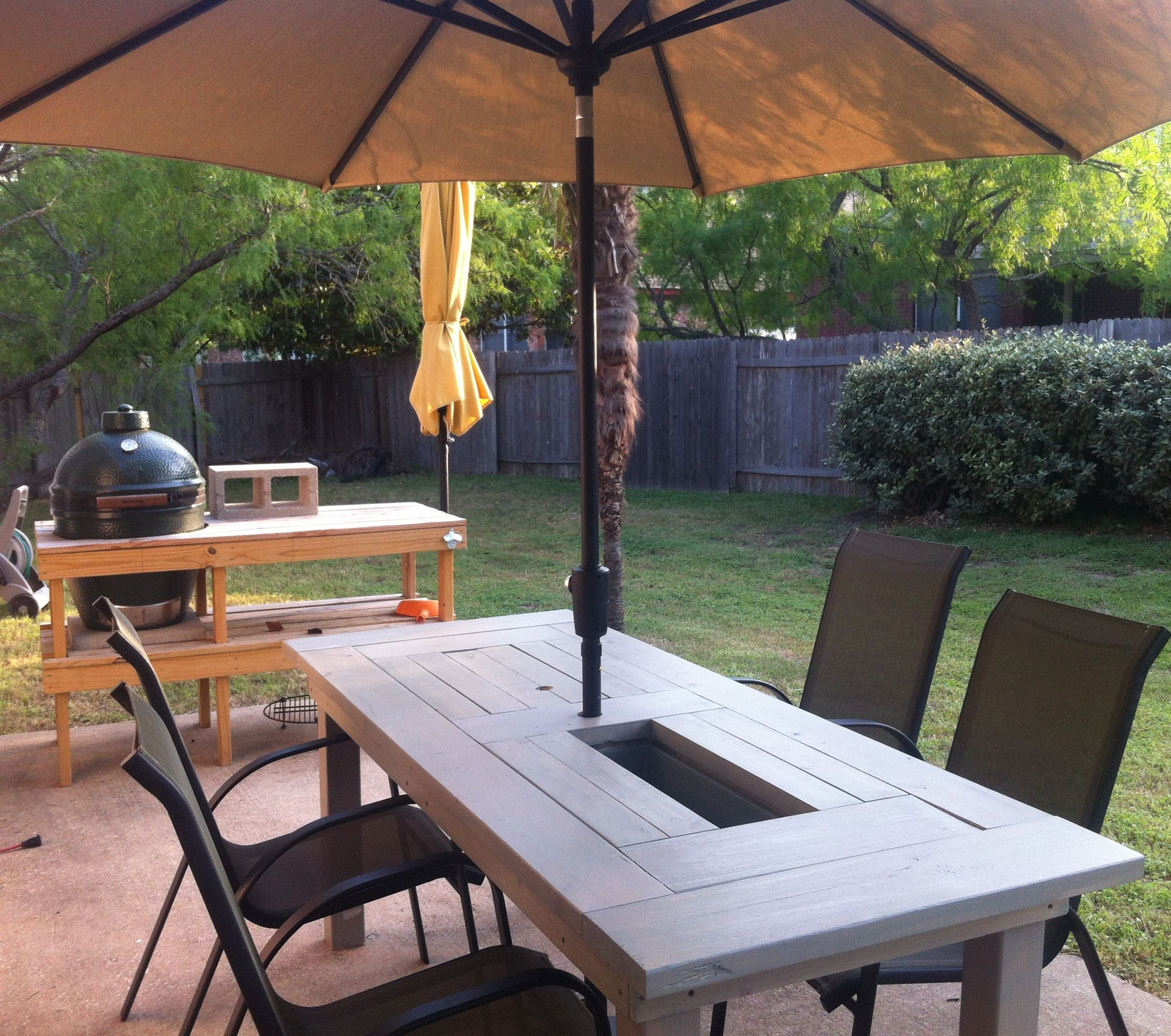 Patio table with built in beerwine coolers do it yourself home patio table with built in beerwine coolers diy projects solutioingenieria Gallery