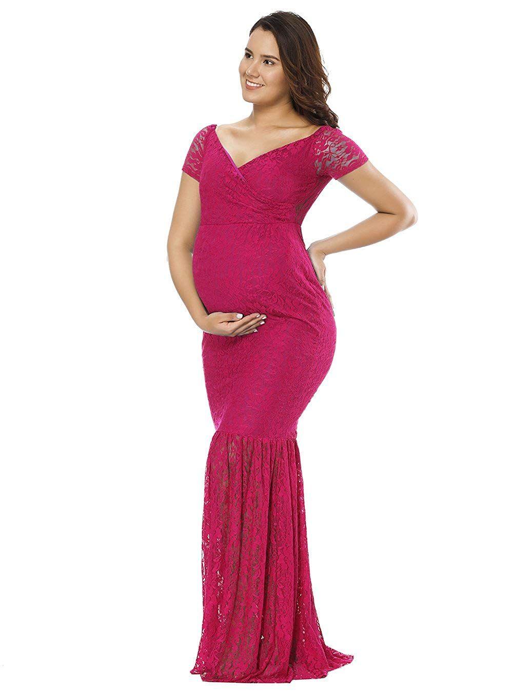 8c4808d758744 JustVH Women's Off Shoulder Short Sleeve V Neck Lace Maternity Gown Maxi  Photography Dress