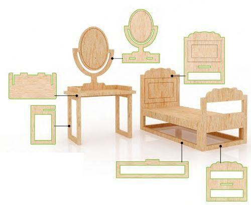 Muebles para casa de mu ecas mdf kit de muebles miniatura for Muebles para armar en casa