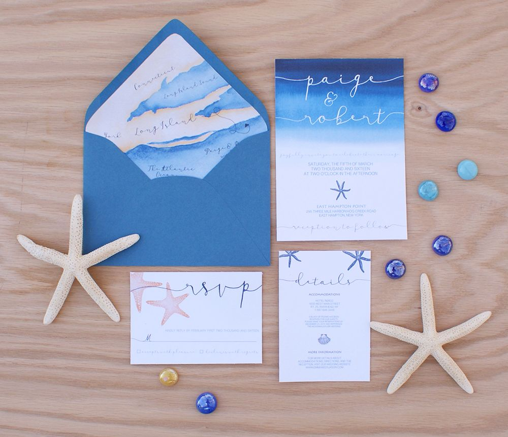 Ocean Themed Wedding Invitation With A Map Linerthis Handpainted Watercolor Suite Is Perfect For Any Planning Beach Or