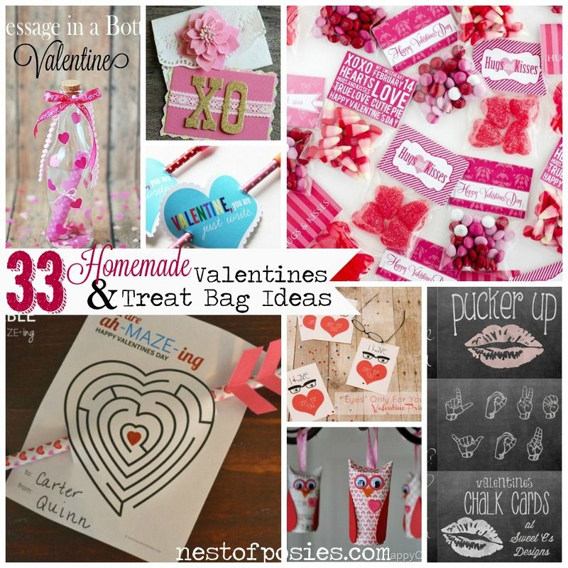 33 homemade valentine cards treat bag ideas via nest of posies - Homemade Valentine Treats