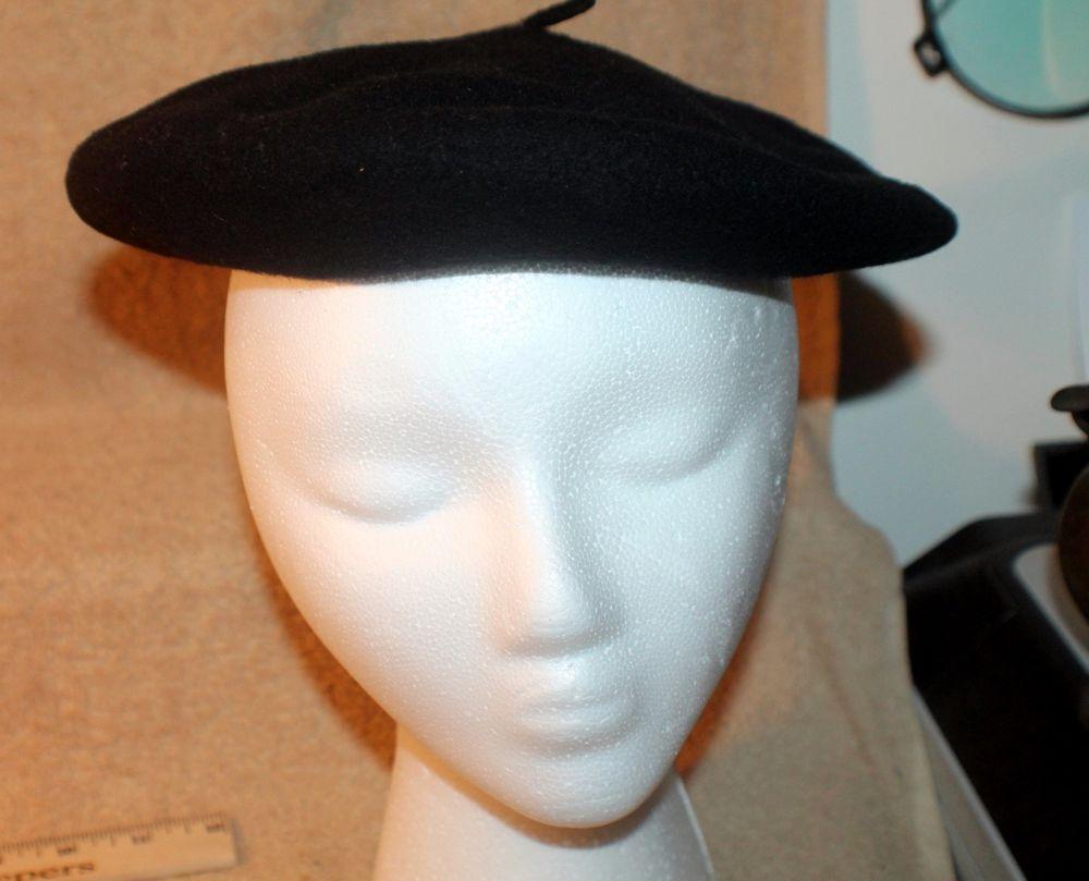3fd98e3b5a11a Black Wool Beret Dorothea Knitting Mills Fleur de Lis Basque Canada Vintage