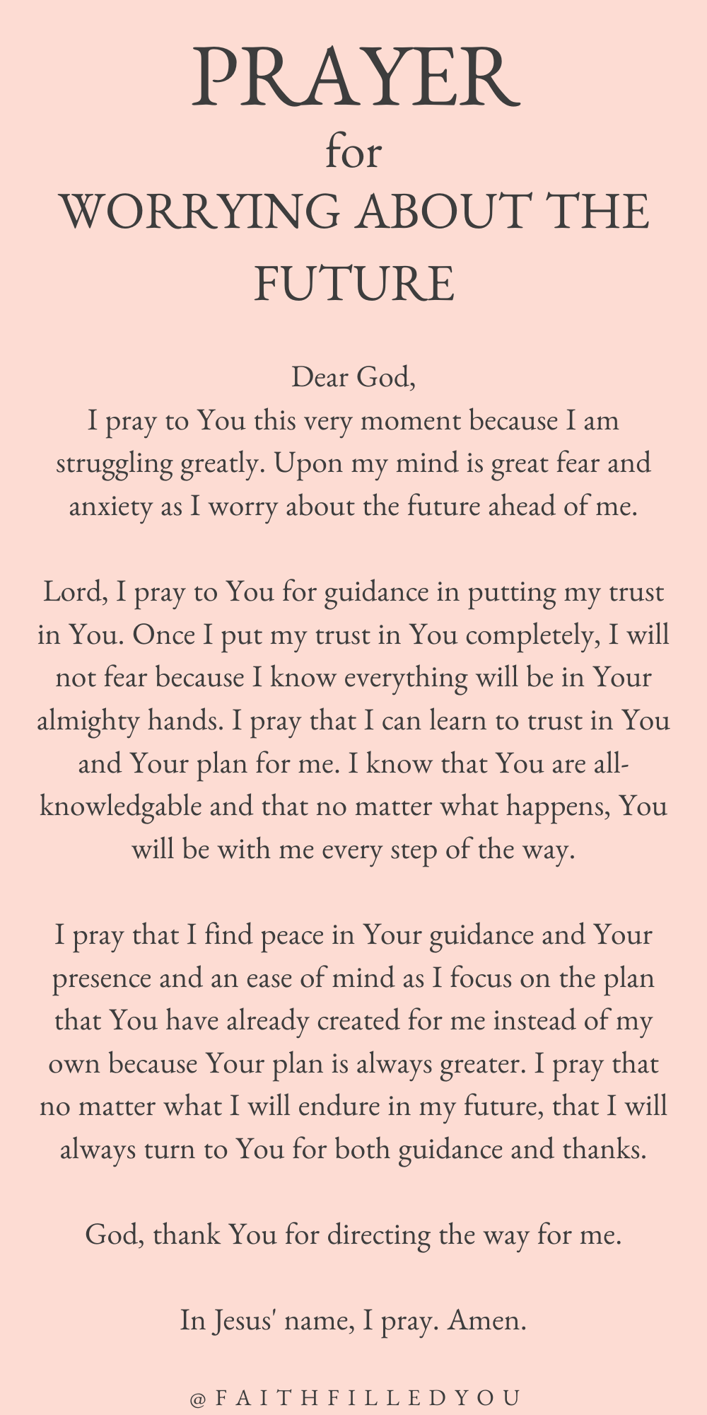 A Prayer For Anxiety About The Future