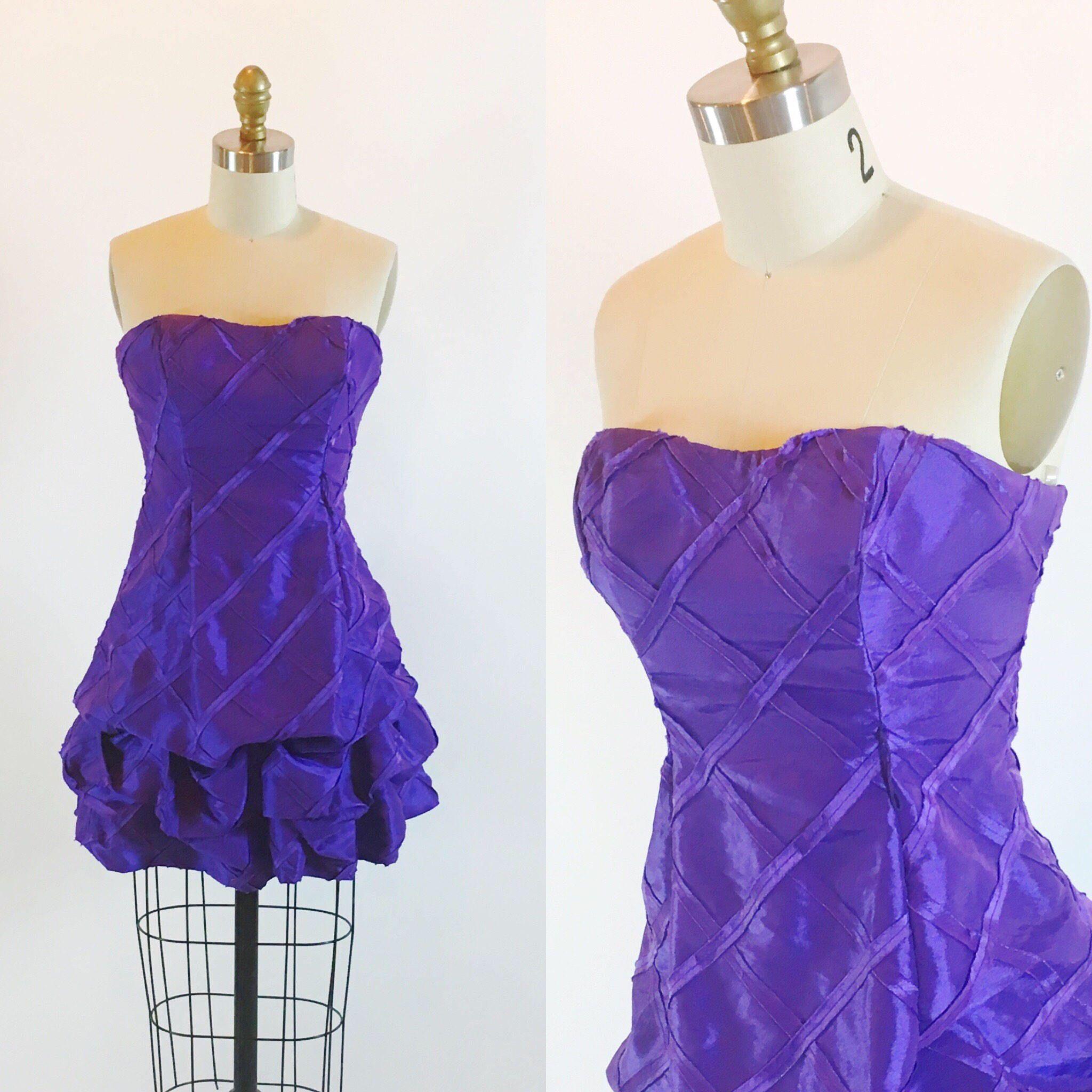 Vintage s size purple cocktail bubble prom mini dress by