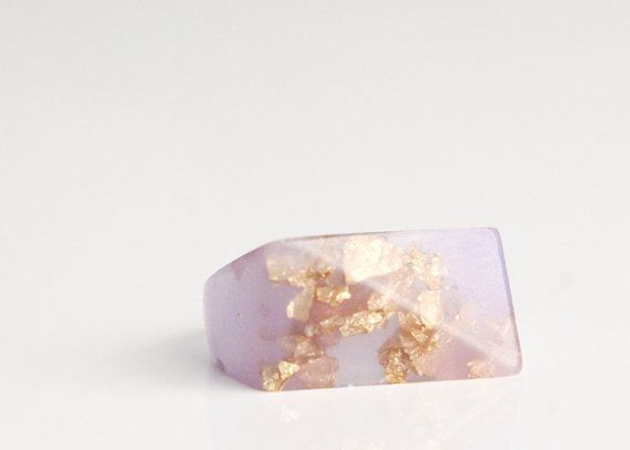 Pale lavender eco resin ring featuring metallic by Rosella Resin