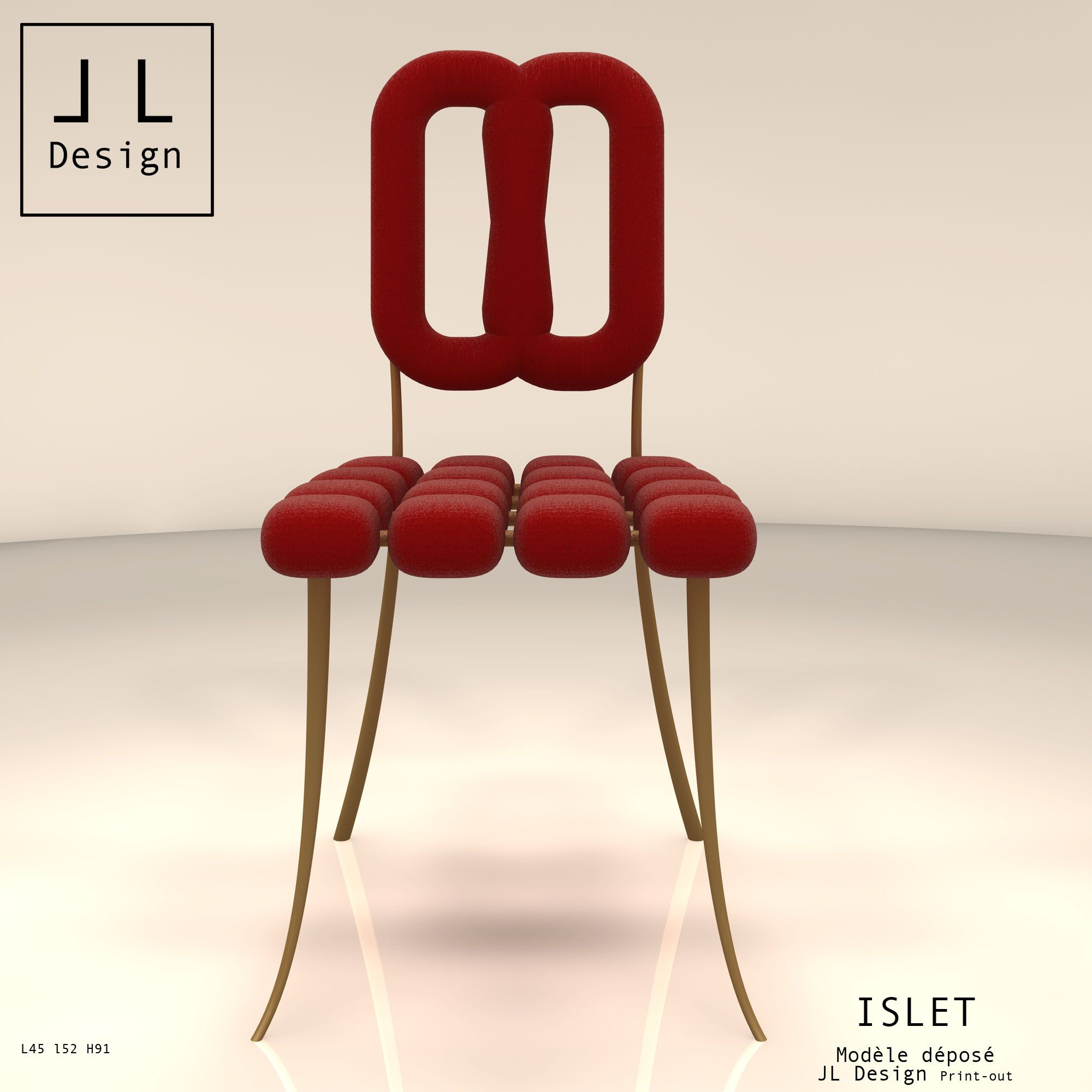 Its legs soar up with grace and hold up the independent islets (little iland) modules of the base seat. Those islets shape the base seat with softness. The extention of its hind legs are supporting its ergonomic back.