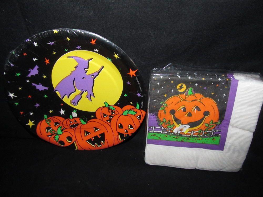 Halloween Party Supplies Plates Napkins Jack O\u0027Lantern Witch In Moon