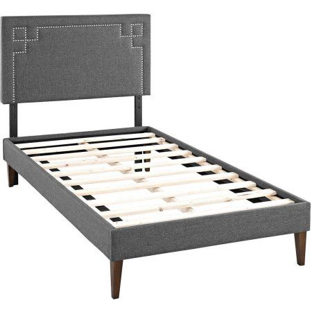 Modway Josie Twin Upholstered Platform Bed with Squared Tapered Legs, Multiple Colors, Gray