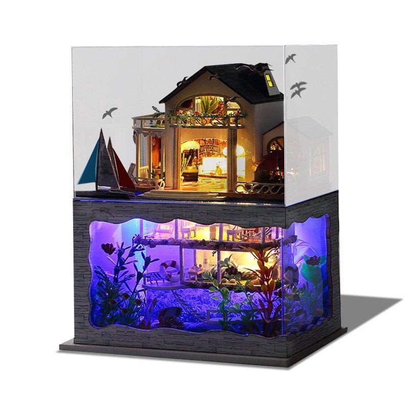 Puppenhaus Miniatur Puppenhaus Moebel DIY Dollhouse Kit Kinder Geschenk mit Led Licht iBaste DIY Puppenstube mit Miniatur M/öbel