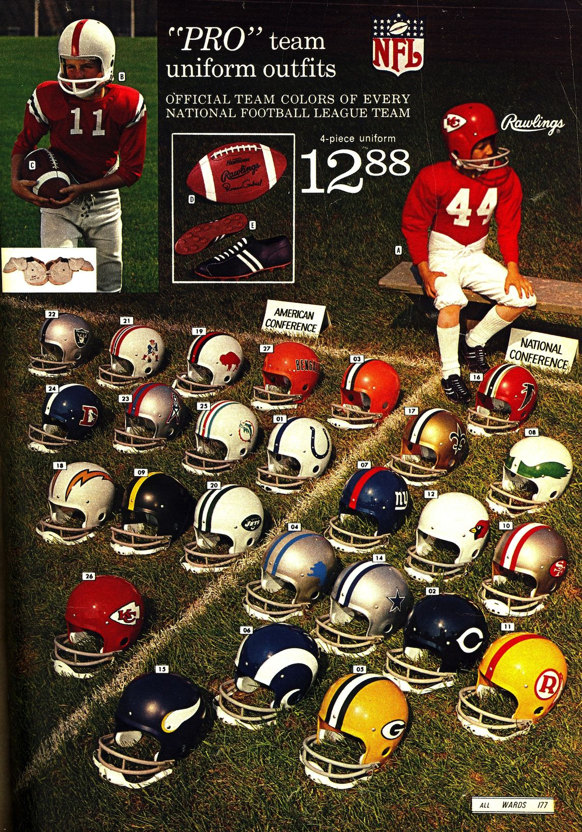 1970 Rawlings Boys' NFL uniforms | Early NFL Licensed Items | Nfl