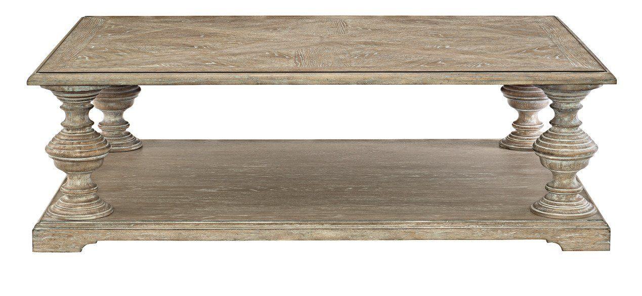 Campania solid wood floor shelf coffee table with storage