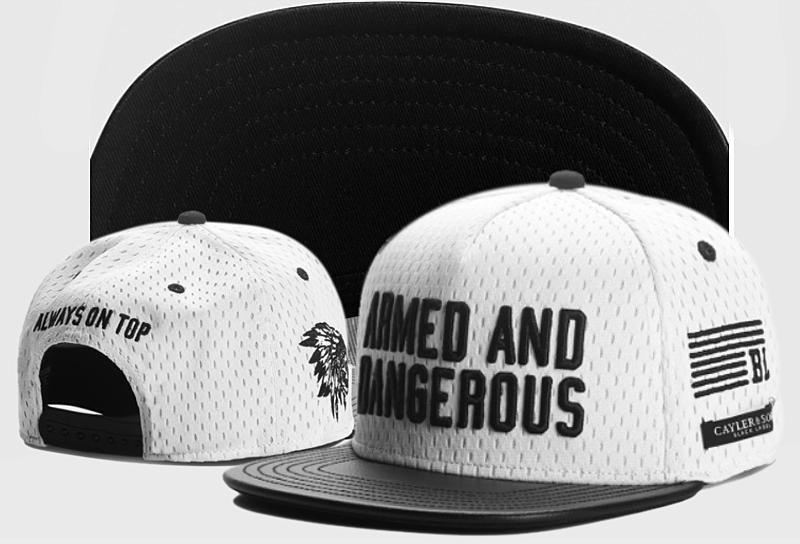 6d454bf8373 Men s Cayler   Sons C   S Black Label Armed N  Dangerous PU Leather Brim Snapback  Hat - White   Black