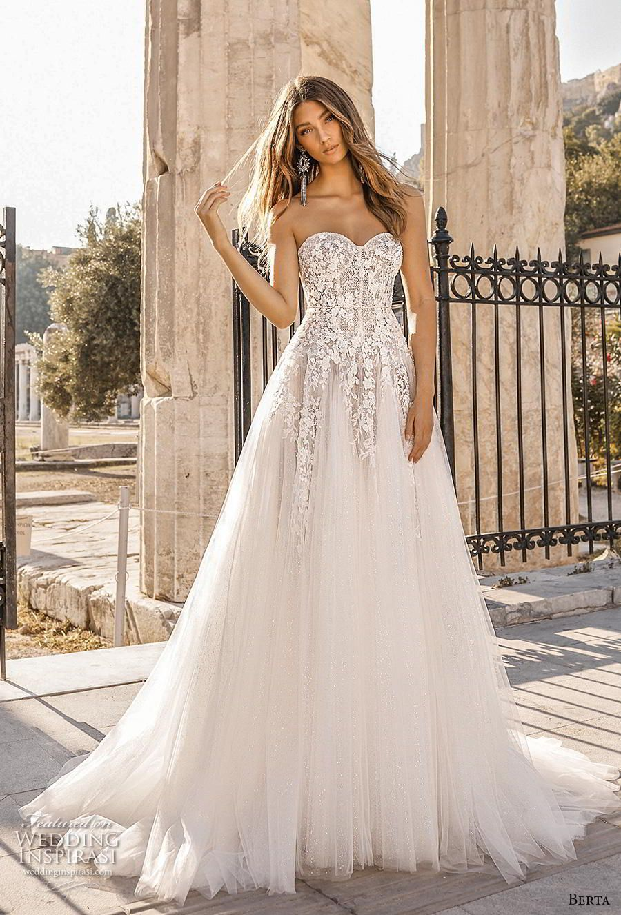 bdbacc4c56 Weddinginspirasi.com featuring - berta fall 2019 bridal strapless  sweetheart neckline heavily embellished bodice romantic a line wedding dress  mid back ...