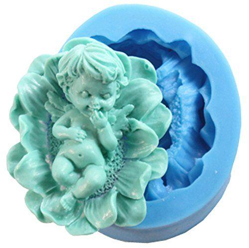 Funshowcase Fairy Cherub Angel Baby in Flower Silicone Ca...