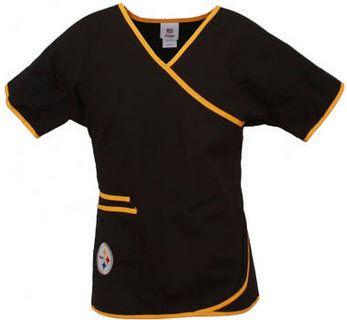 0025e7678f3 Pittsburgh Steelers Women s NFL Mock Wrap Scrub Top