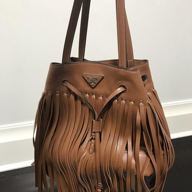 f8e76ae00c03 Prada Leather Fringe Bucket Camel Shoulder Bag - Tradesy |