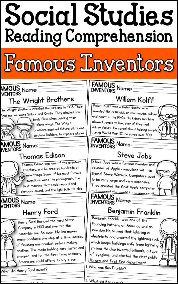 Famous Inventors Reading Comprehension Passages K 2 Distance Learning Social Studies Middle School Social Studies Elementary Kindergarten Social Studies [ 1150 x 720 Pixel ]