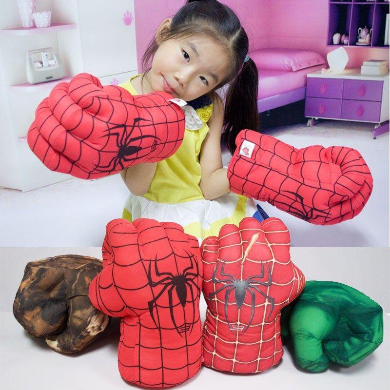 UK Hulk Spider-Man Plush Hands Boxing Fist Glove Cosplay Props Kids Toys Gift