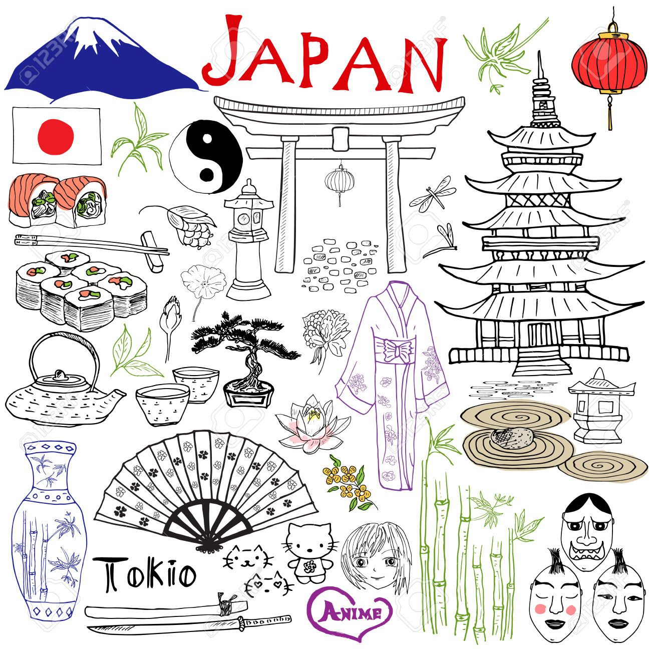 Japan Drawing Images, Stock Pictures, Royalty Free Japan