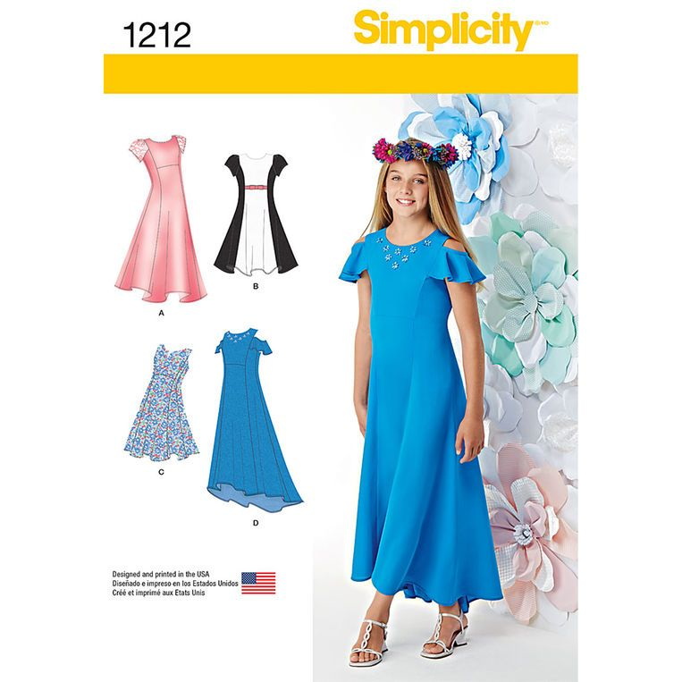 Simplicity Girls' and Girls' Plus Dresses - Size: BB (8 1/2 - 16 1/2)