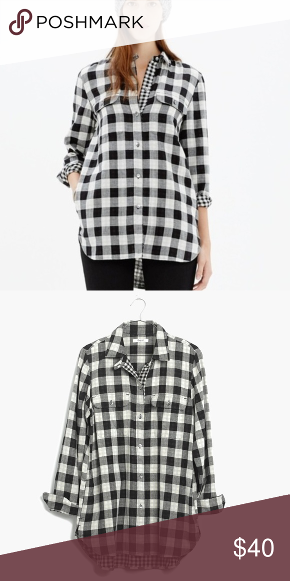 7c5ac2ce7a7 Madewell Women s Black Ex-Boyfriend Shirt In Shaw Madewell Women s Black  Ex-Boyfriend Shirt In Shaw Plaid Great condition - washed and worn a  handful of ...