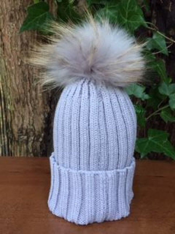 b101fe1a738 Rib Knit Bobble Hat in Light Grey with Detachable Light Grey Fur Pom ...