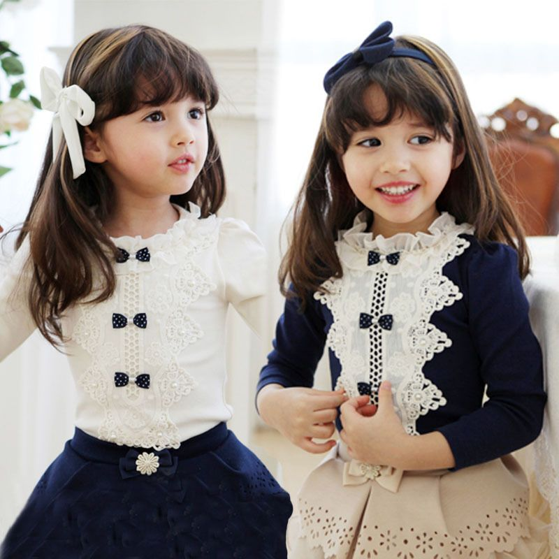 Peppa Freeshipping Boys Freeshipping Floral Korean Version Of 2014 Hitz Cotton Sleeved Lace Bow In Child Bottoming Shirt Dress