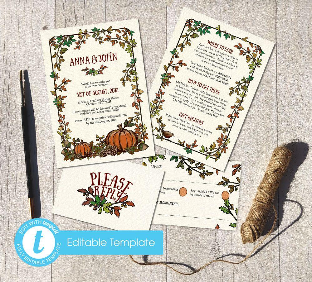 Printable template invite diy rustic wedding invitations autumn