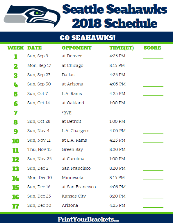 3e4c4cd81 Printable 2018 Seattle Seahawks Football Schedule. Printable 2018 Seattle  Seahawks Football Schedule Carolina Panthers ...