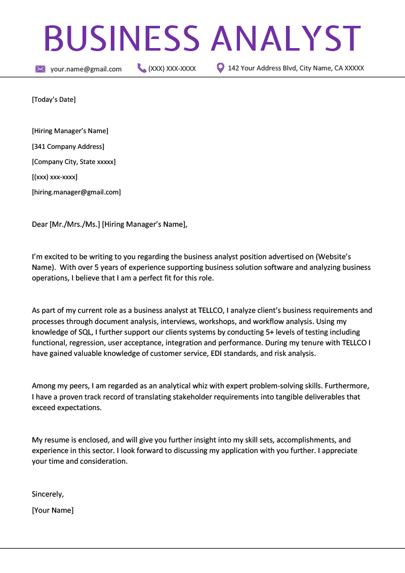 business analyst cover letter example  u0026 writing tips