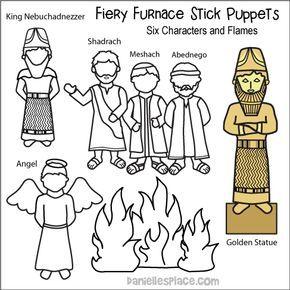 Fiery Furnace Stick Puppets Biblische Geschichten