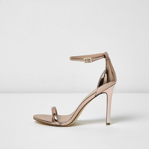 7b41a84bc5f5 River Island Rose gold metallic barely there heels ( 70) ❤ liked on  Polyvore featuring shoes