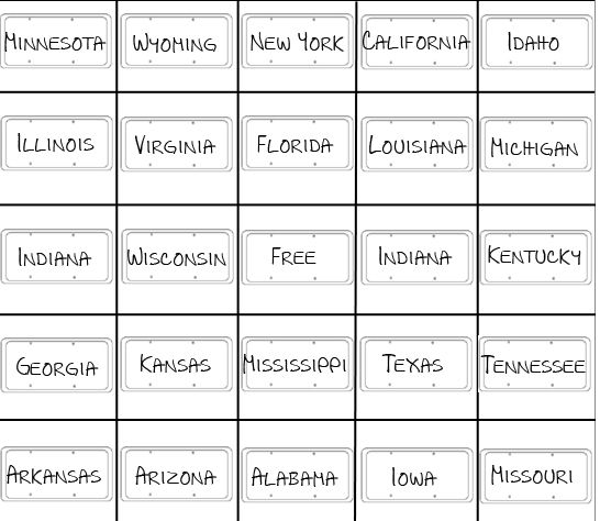 This is a graphic of Resource License Plate Bingo Printable