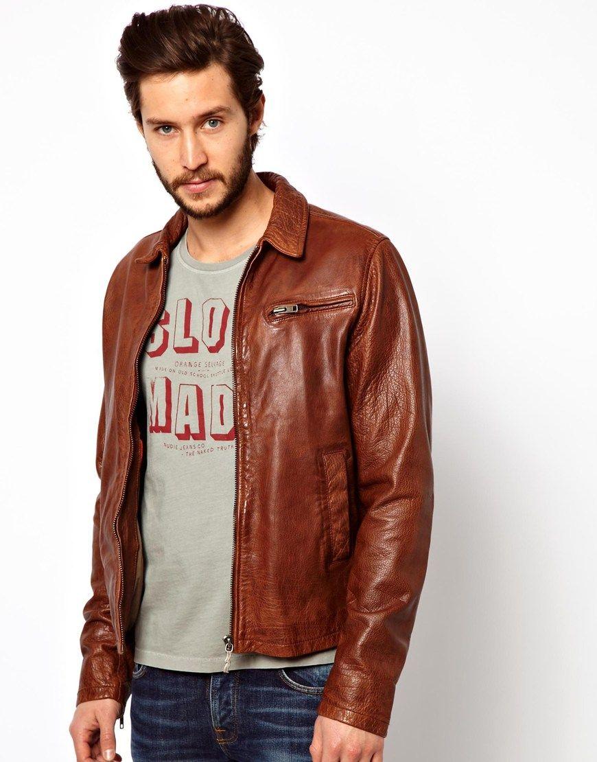 65b688a60ef6 Nudie jeans Leather Jacket Ervin 50s Biker in Brown for Men (Cognac) | Lyst